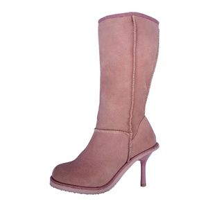 Tommy Girl High Heel Rose Ash Suede Shearling Boot